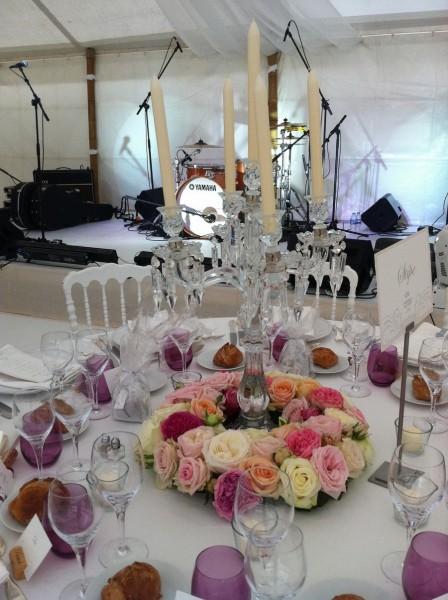 Centre de table de mariage et d coration en couronne de roses pour lied de chandelier bougie puy - Decoration florale mariage centre de table ...