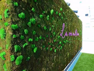 les vagues de mousses plates procurent de l'énergie au mur végétal en soulignant les lettrages leds.
