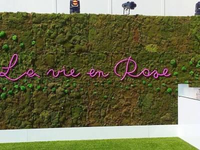 """le néon """"la vie en rose"""" est mis en valeur sur ce fond de mousses naturelles"""