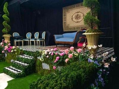Jardin de roseraie à l'anglaise.