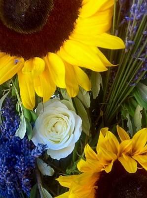 magnifique mariage des couleurs de la provence avec la lavande fraîche et les roses blanches
