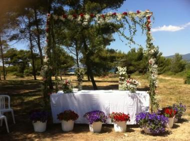 Arche nuptiale pour cérémonie de mariage, décoration florale allée nuptiale